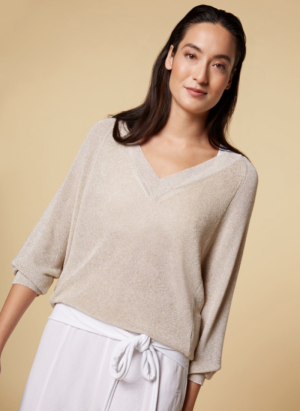 Thin sweater lurex logo